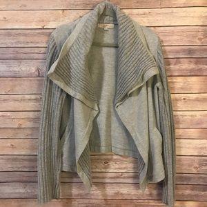 LOFT mixed knit 'moto' style sweater.